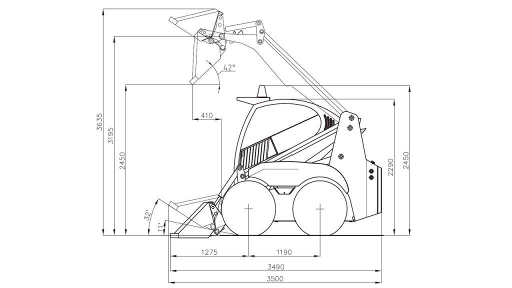 Технологическая схема мини-погрузчика универсального с бортовым поворотом Амкодор 211