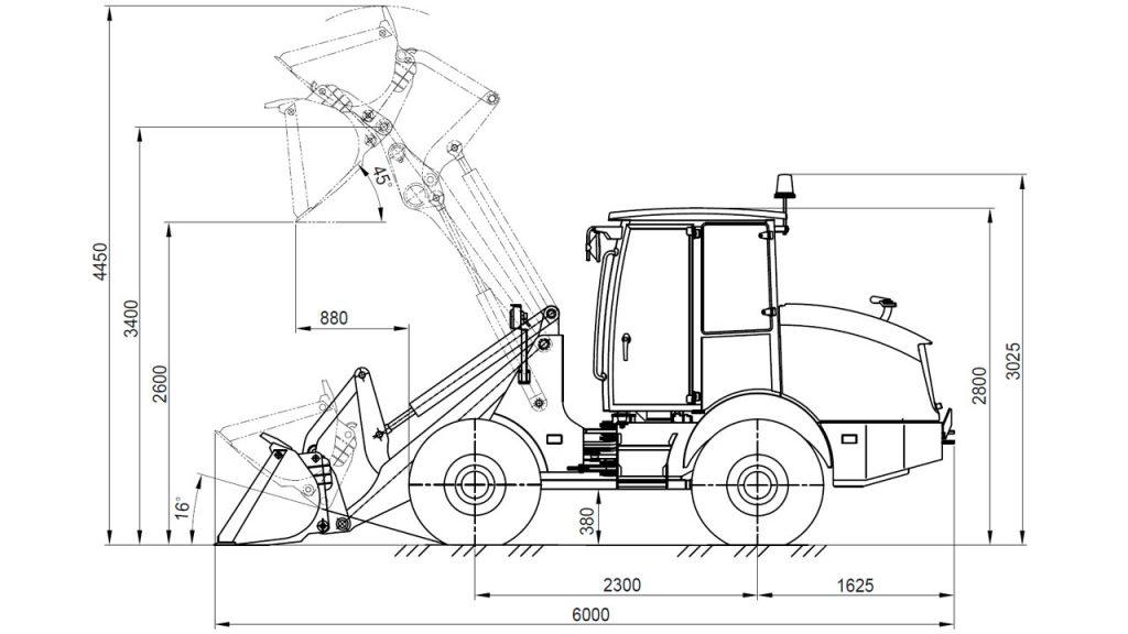 Технологическая схема универсального погрузчика Амкодор 320