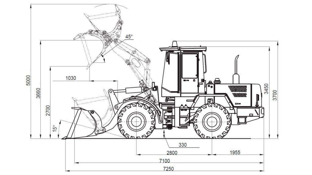 Технологическая схема универсальных погрузчиков Амкодор 332С4 и Амкодор 332С4-01