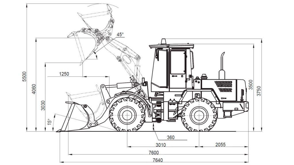 Технологическая схема универсального погрузчика Амкодор 342С4