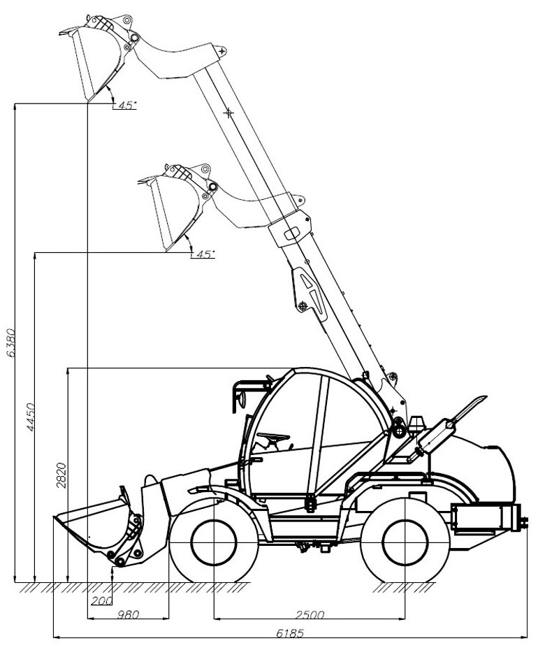 Технологическая схема погрузчика с телескопическом стрелой Амкодор 527 с ковшом 527.51.00.000-Б