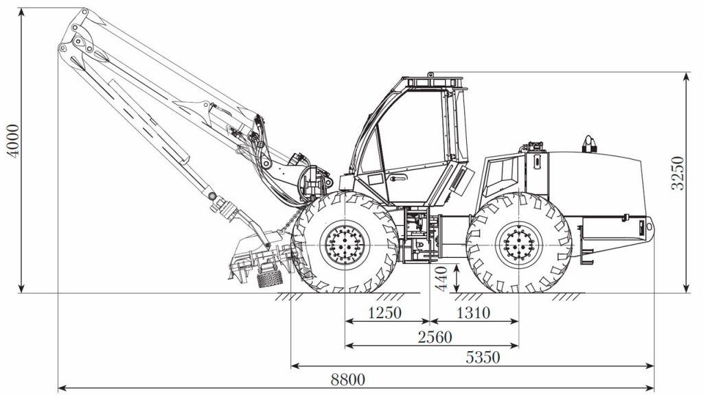 Технологическая схема харвестера Амкодор 2531