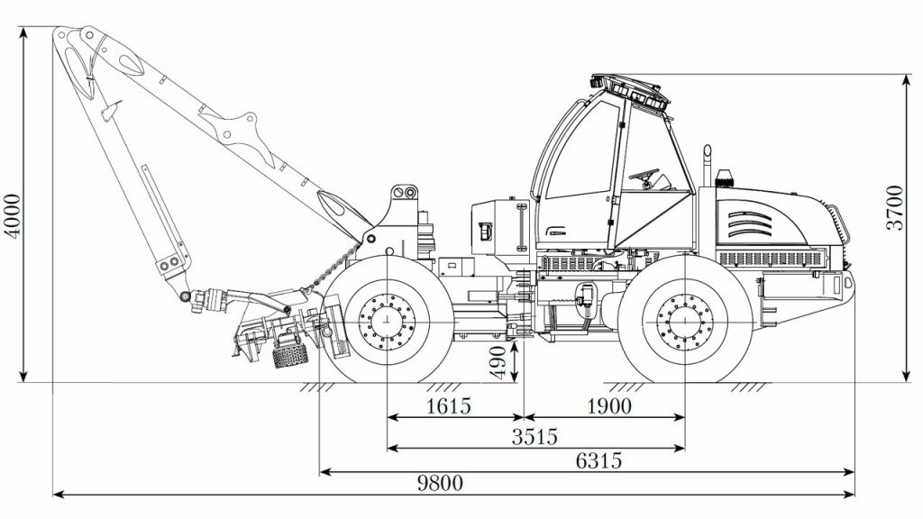 Технологическая схема харвестера Амкодор 2541
