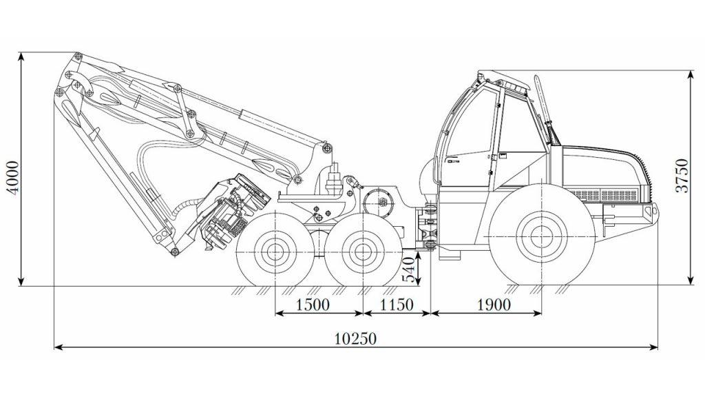 Технологическая схема харвестера Амкодор 2551