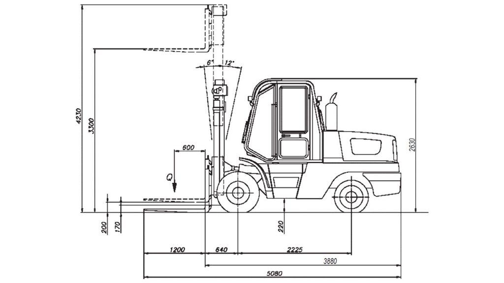 Размерная схема автопогрузчика вилочного Амкодор 451А