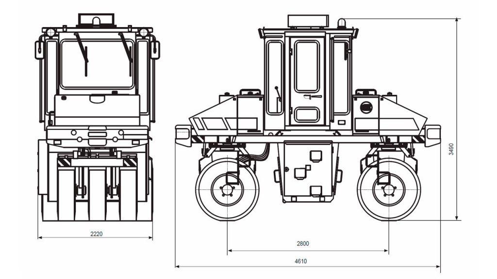 Технологическая схема катка статического самоходного пневмошинного Амкодор 6641
