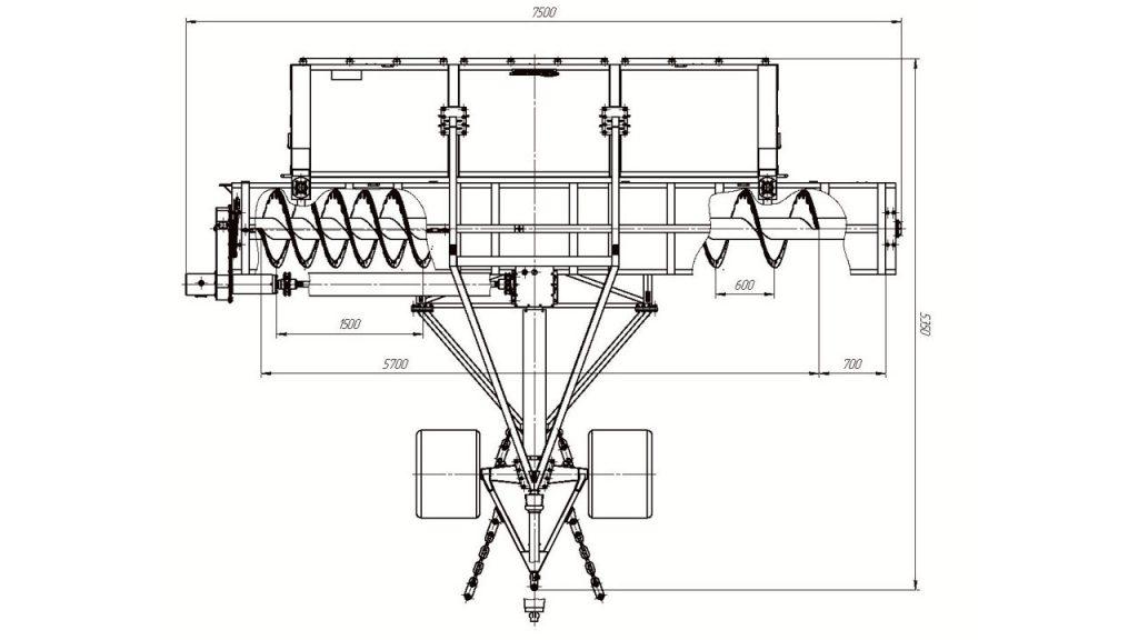 Технологическая схема профилировщика торфяного шнекового Амкодор АТ-51