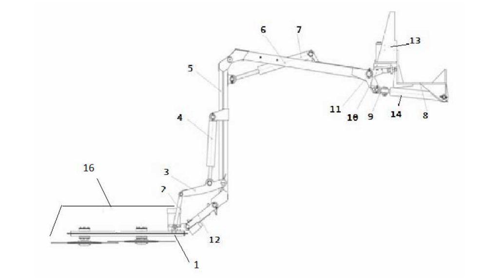 Схема косилки конструктивная с аппаратом режущим КД-1,5.00.00.000