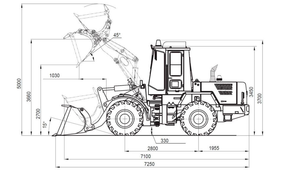 Технологическая схема универсального погрузчика Амкодор 334С
